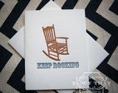 "Letterpress Greeting Card - ""Keep Rocking"" Chair"