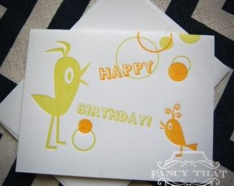 Letterpress Greeting Card -  Happy Birthday Birdies