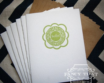"6 Pack Letterpress Greeting Cards - ""Hello"" Ornate Circle"