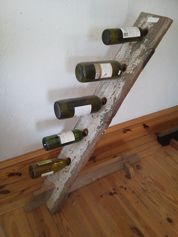 Items similar to antique barn wood five bottle wine stand for Making craft projects from old barn wood