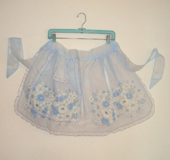 Vintage 1950s Apron Ruffled Baby Blue Sheer Organza Flocked Hostess Half Apron
