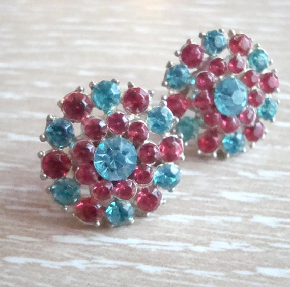 Bright Pink and Aqua Vintage Rhinestone Earrings