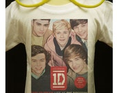 Free Shipping - Kids - 1D ONE DIRECTION - Boy Band Fan White Digital to Garment Printed T Shirt  (Size 12,14)