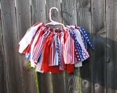 Memorial day 4th of july scrap skirt elastic waist