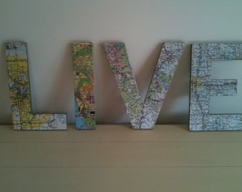 Handmade map letters set of 4