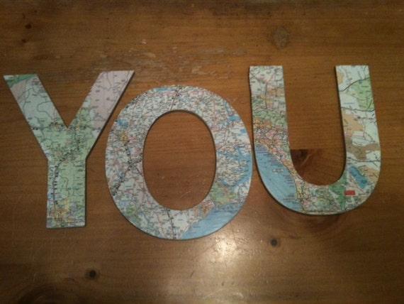 Handmade map letters-3
