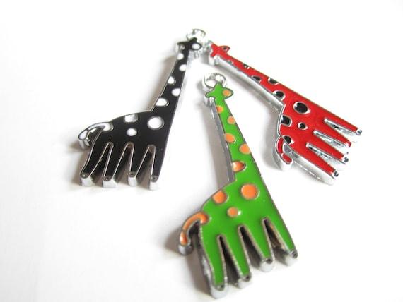 Enamel metal charms: giraffes