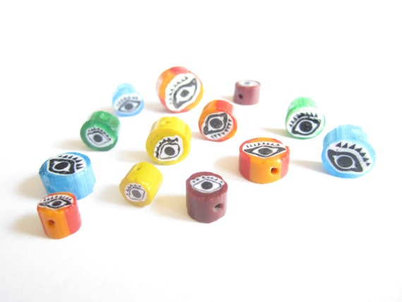 35 evil eye colourful hand painted small glass beads - last lot available - Day of the Dead - Dia de los Muertos designs