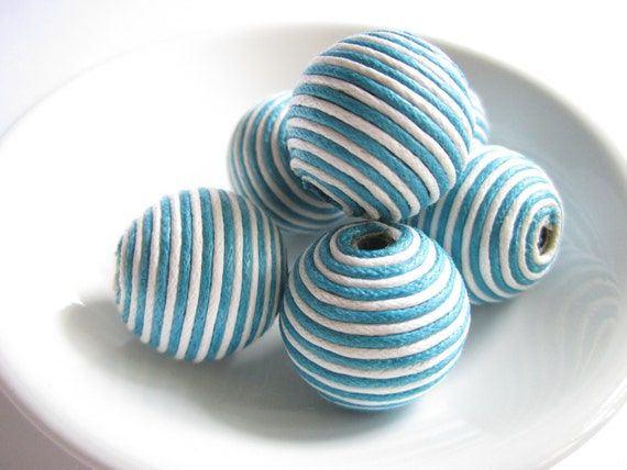 Twisted paper beads - turquoise and white - 6 large striped paper beads - fresh and breezy summer colours - lightweight paper beads