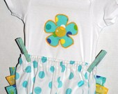 Adorable turquoise and yellow polka dot ruffle diaper cover 3 piece set
