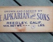 Original Fruit Crate End with Advertising Stamp-T.Apkarian and Sons.