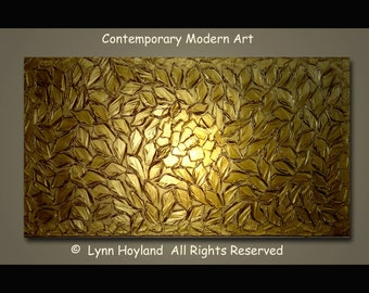 Shimmer-48x24 Large Contemporary Art Palette Knife Imposto Heavy Textured Acrylic Painting Green/Gold Metallic Leaves by Lynn Hoyland