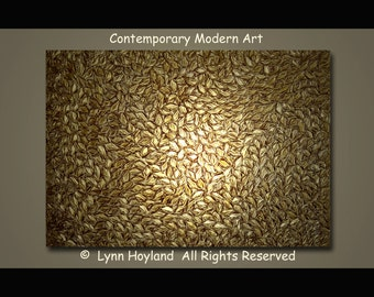 Flow-40x30 Large Contemporary Modern Art Palette Knife VERY Heavy Textured Acrylic Painting Taupe/Gold Metallic Leaves by Lynn Hoyland