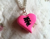 Pink Polymer Clay Heart Necklace Featuring Chinese/Japanese Character for Love