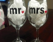 Mr and Mrs ..Personalized wine glasses/ bridal shower, wedding, birthdays, girls night out , wedding party