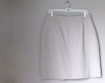 Size 14 Taupe Womens Lined Skirt with Back Slit