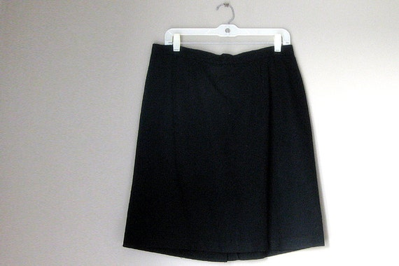 RESERVED for Renata - Size 16 Wool Skirt. Womens Plus Size Black Skirt with Back Slit
