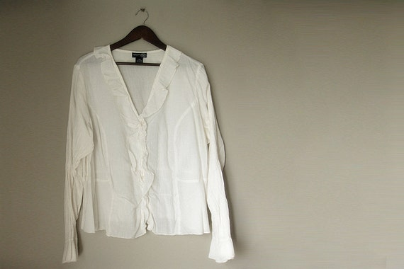 Plus Size 18/20 Cotton V-Neck Blouse with Ruffles in Cream
