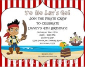 Custom Printable JAKE and the NEVERLAND PIRATES 5 x 7 Birthday Party Invitation