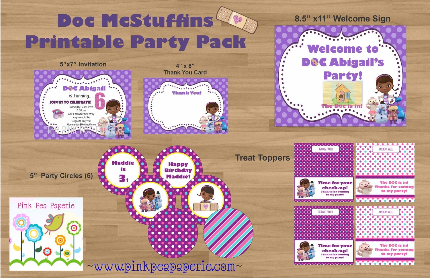 This is a photo of Universal Doc Mcstuffins Party Printables