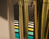 LAST ONE SALE pH strip Aqua handpainted upcycled leather earrings