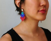 LAST ONE SALE Colorstack Suede with platinum plated hammered diamond colorful upcycled aqua royal blue red leather earrings