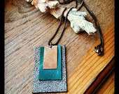SALE Copper Crackle green mocha upcycled leather pendant and antique brass chain necklace