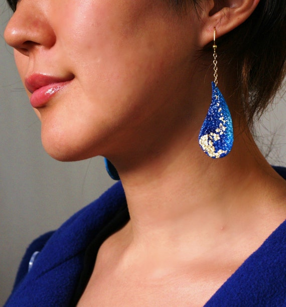 LAST ONE SALE Royal Blue Raindrop handpainted/goldleafed upcycled leather metal chain dangle earrings