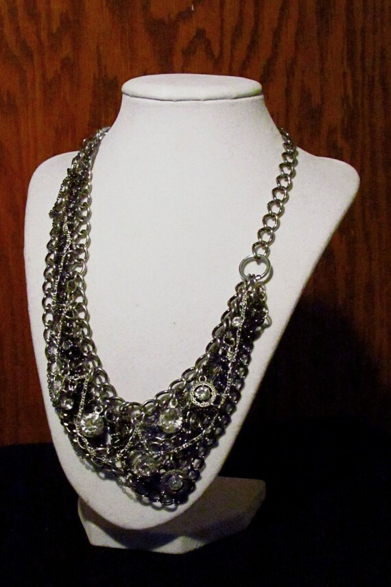 Silver and Crystal Chain Mail Statement Necklace