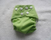 Newborn green pocket diaper with snaps FREE SHIPPING