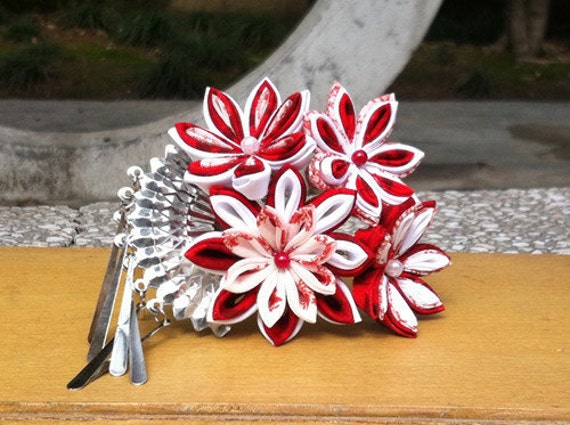 kanzashi hairpin red Maple with hand fan pendant