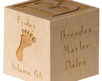 Baby Block Baby Keepsake Block Personalized Baby Gifts Wooden Baby Block Shower Gift Newborn Baby Gifts Laser Engraved Block