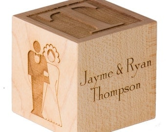 Engraved Wedding Cube Engraved Wedding Favor Cube for Weddings Bride Cube Groom Cube Wedding Announcement Bridal Shower Wedding Centerpiece