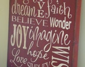 Laugh Love Dream Inspire Subway /Typography Word Art Sign
