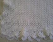 White crochet christening - baptism baby blanket - boy or girl - unisex