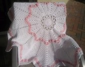 """Large baby girl star blanket - white and pink - crochet blanket 45"""" round"""