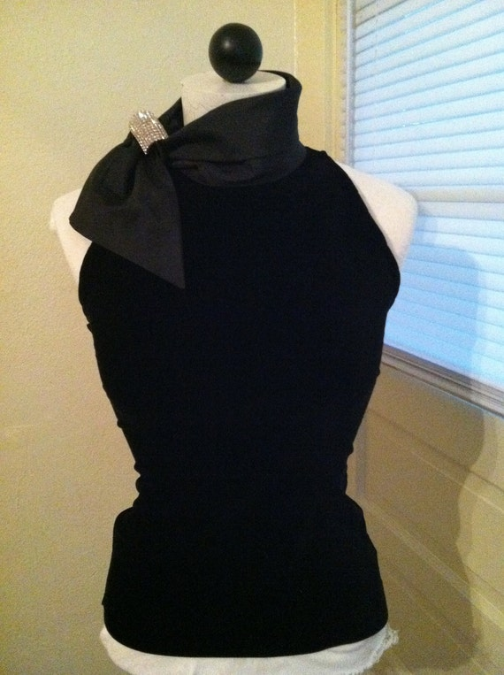 RESERVE FOR DIVA 1961 Yves Saint Laurent Tight Fitted Black Velvet Silk Organza Side Zip Top Holiday Top in the style of Charlize Theron