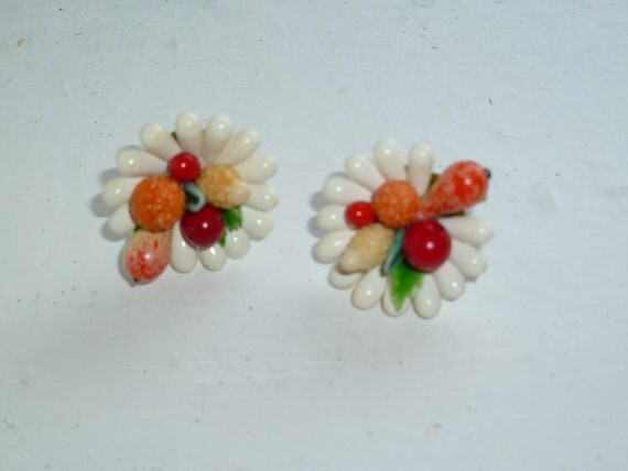 Fruit Basket Earrings, Screw Back, Kitsch