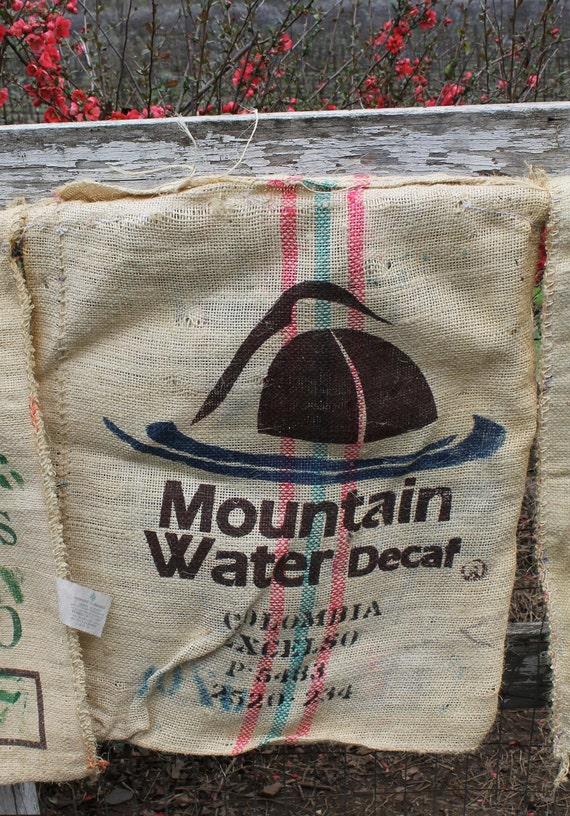 Burlap Coffee Sack Bag with Graphics - Shabby Chic Farmhouse