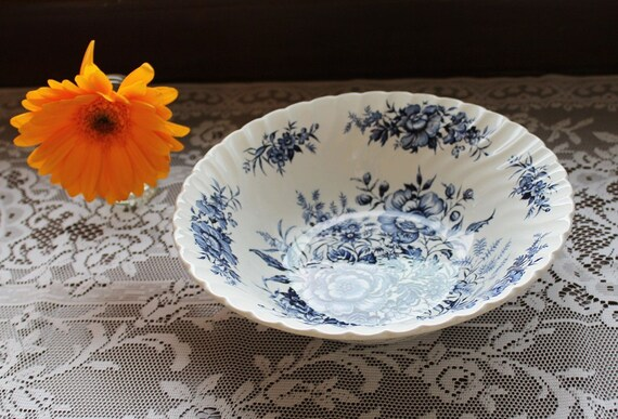 Vintage Serving Bowl - Blue Floral Print Beacon Hill by British Anchor China J1