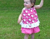Custom Boutique Baby Girl Toddler Hello Kitty Ruffled Pillowcase Dress/Jumper 6 mos to 5T-6Y Free Bow