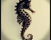 Vintage Style Black & Copper Seahorse Necklace