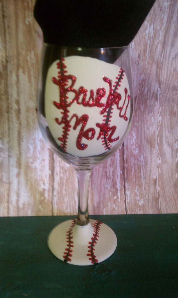 Hand Painted Baseball Mom Wine Glass