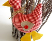 Fluffy hanging ducks in red checked fabric inspired by Tilda, set of 2
