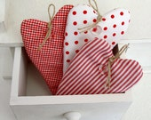 Red scented small fabric hearts, set of 3