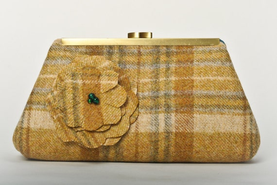 SALE 20% Off - Medium Clutch Purse - Gold and Ivory Wool Plaid with applied flower and Antique Brass Frame.