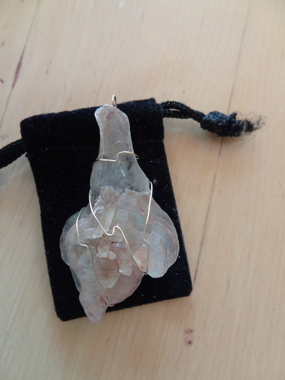 SALE Selenite Natural Crystal Pendant With Goldfilled Wire