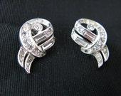 Trifari Earrings Crown Trifari Signed 1940s Rhinestone Clip on Earrings