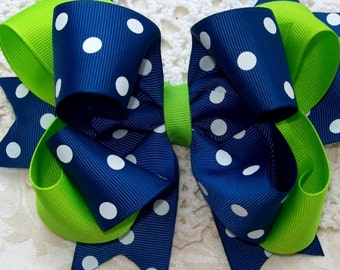 Lime and Royal Blue with white polka dot double spikey boutique bow