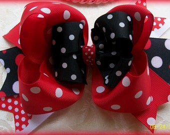 Hairbow....Minnie Inspired Triple Layer Boutique Hair Bow